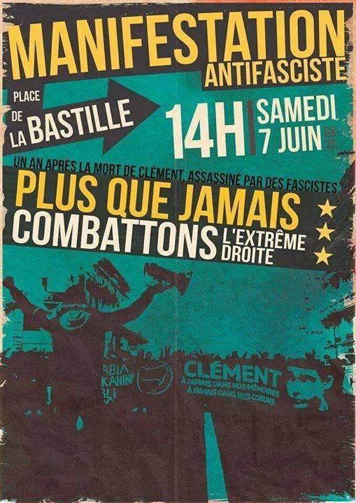 Plus que jamais combattons l'extrême droite : Manifestation antifasciste le 7 juin à Paris