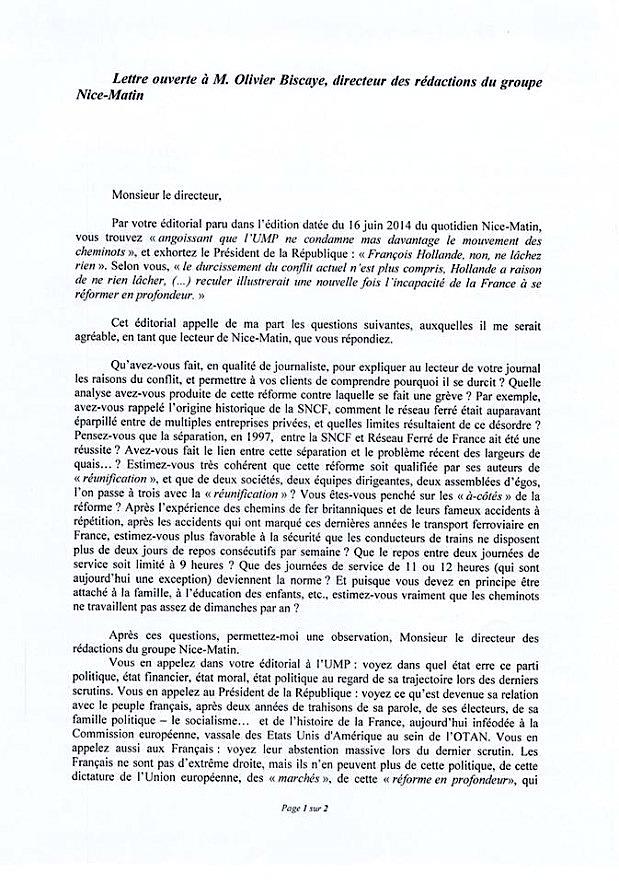 Critique des médias : Lettre ouverte d'un lecteur de Nice-Matin à Olivier Biscaye, Directeur des rédactions