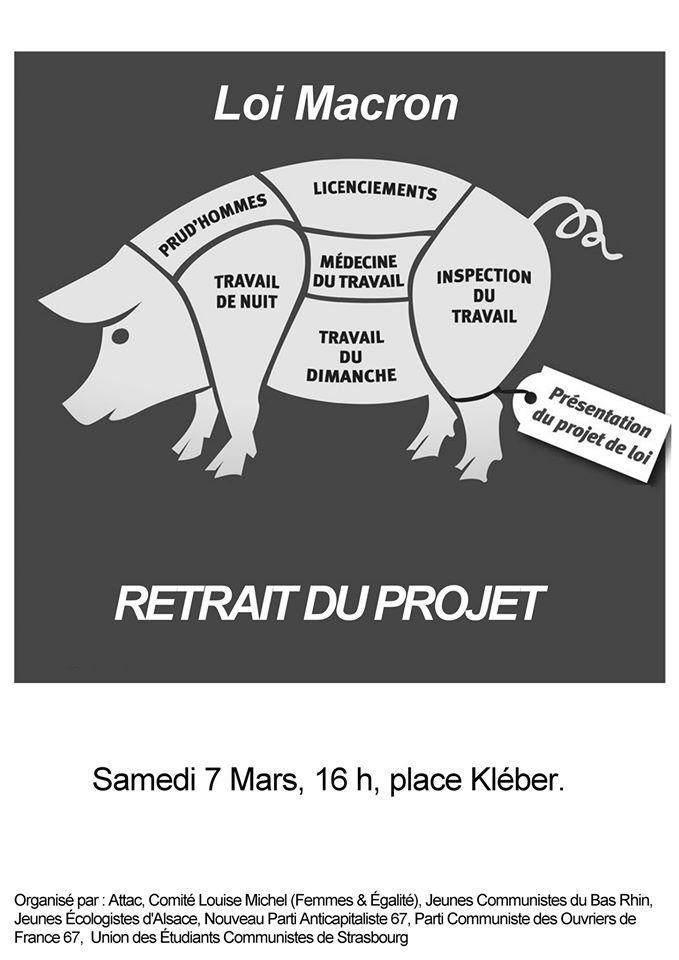 Manifestation contre la loi Macron le 07/02 à 16h place Kléber