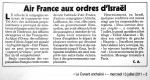 Canard Enchaîné: Air France aux ordres d'Israël