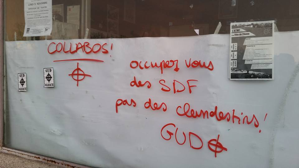 Le GUD signe un tag anti-réfugiés sur le local de l'ATMF à Strasbourg