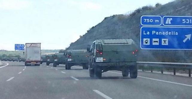 Espagne : A l'occasion de la consultation sur l'indépendance de la Catalogne, l'armée est de sortie dans les rues et s'entraîne à affronter des manifestations de population civile
