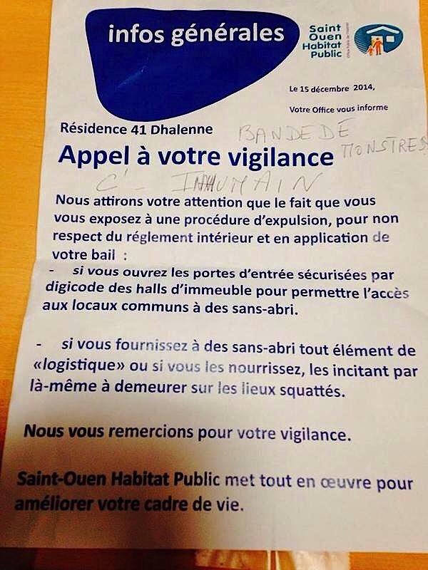 """Saint-Ouen Habitat Public participe au """"nettoyage"""" social et menace de réprimer la solidarité"""