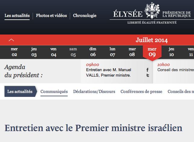 Honte à la France : une fois de plus Hollande assure sa solidarité à Netanyahou !