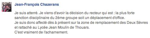 Acharnement et sanctions contre Jean-François Chazerans