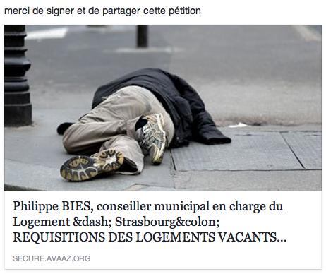 Philippe BIES, conseiller municipal en charge du Logement ‐ Strasbourg: REQUISITIONS DES LOGEMENTS VACANTS ‐ Danger de morts !