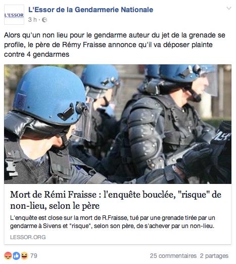 Sivens côté gendarmes…