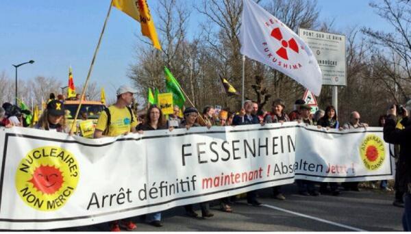 Grandes mobilisations en Alsace pour la fermeture immédiate de Fessenheim.