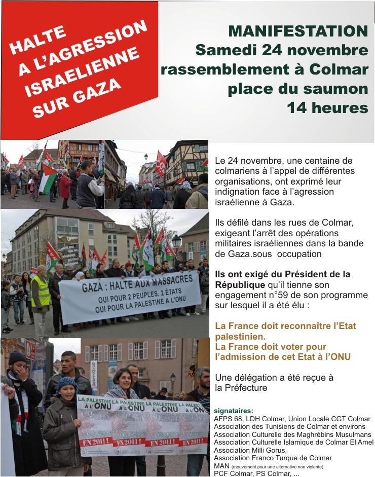Gaza, Palestine, l'Alsace avec toi à Mulhouse, à Colmar, à Strasbourg