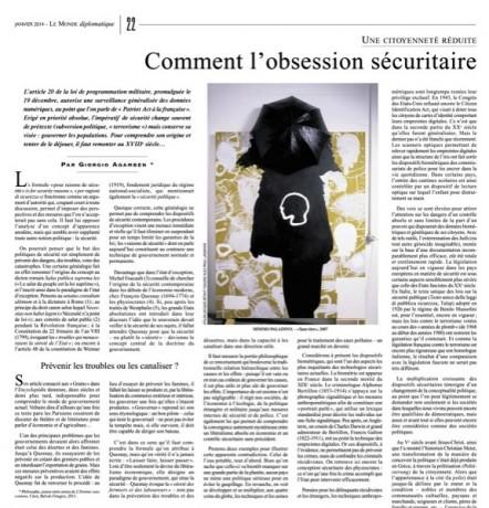 Comment l'obsession sécuritaire fait muter la démocratie, par Giorgio Agamben