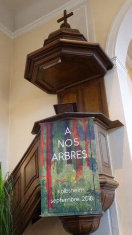Cérémonie d'adieu aux arbres à l'église  de Kolbsheim