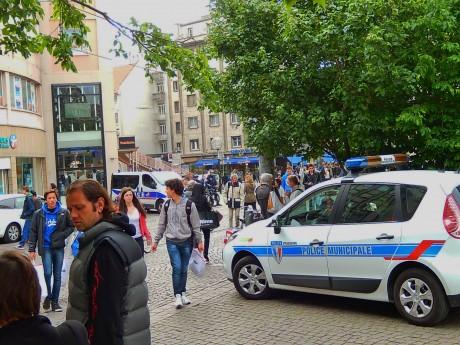 Forte présence policière place de l'Homme de Fer à Strasbourg