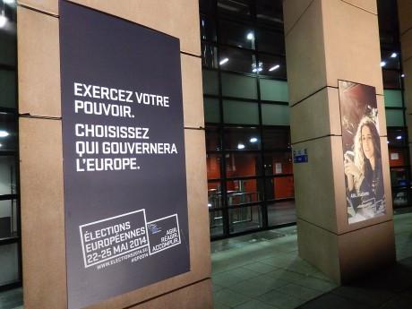 Morne soirée électorale au Parlement européen à Strasbourg