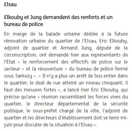 """Strasbourg-Elsau: Elkouby et Jung pour """"la réouverture du bureau de police…"""""""