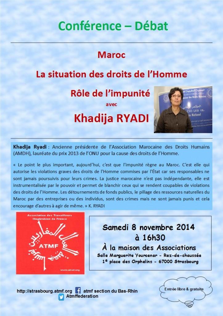Maroc – la situation des droits de l'Homme, rôle de l'impunité avec Khadija RYADI  Conférence – débat le samedi 8 novembre 2014