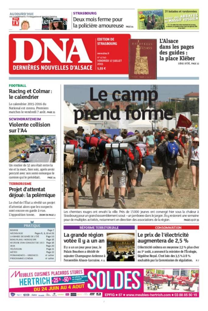 """Dernières Nouvelles d'Alsace: """"Le camp prend forme"""""""