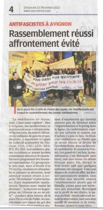 Mobilisation antifasciste réussie à Avignon !