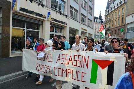 Leila Shahid s'adresse aux manifestants pour Gaza et la Palestine à Strasbourg et Mulhouse