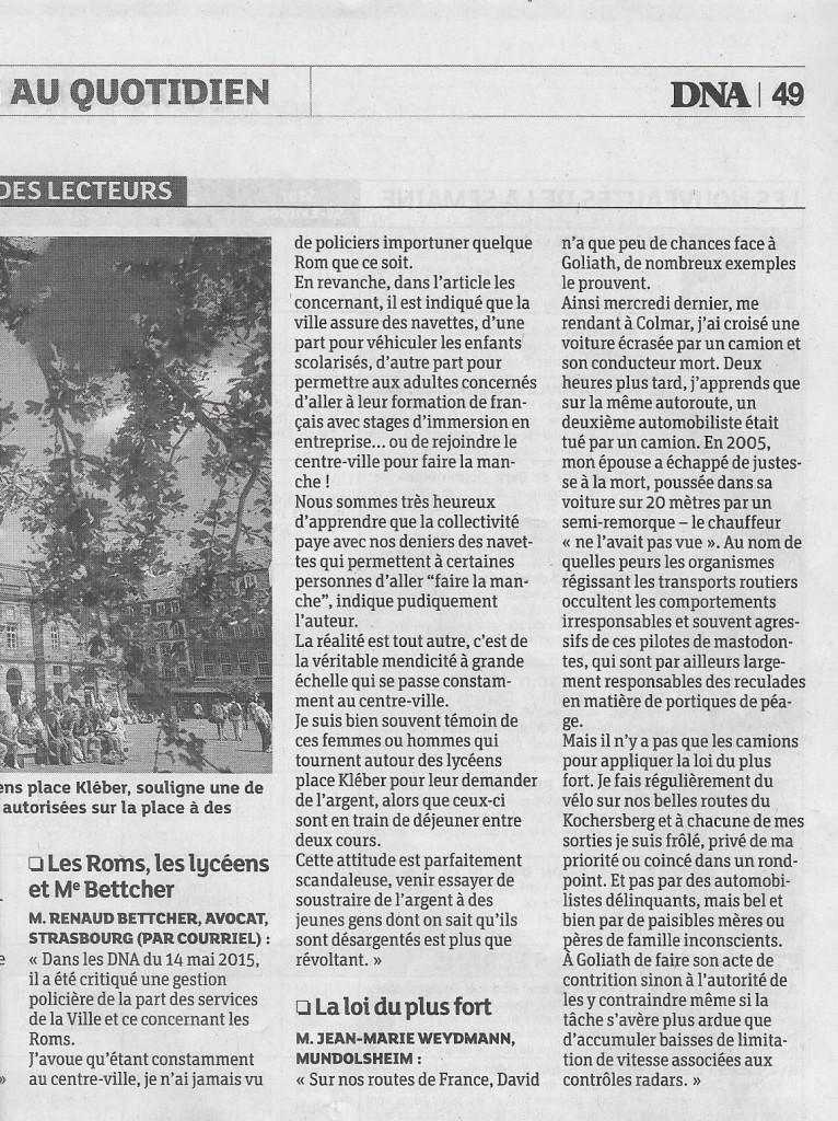 Un courrier de lecteur empli de préjugés publié dans les Dernières Nouvelles d'Alsace