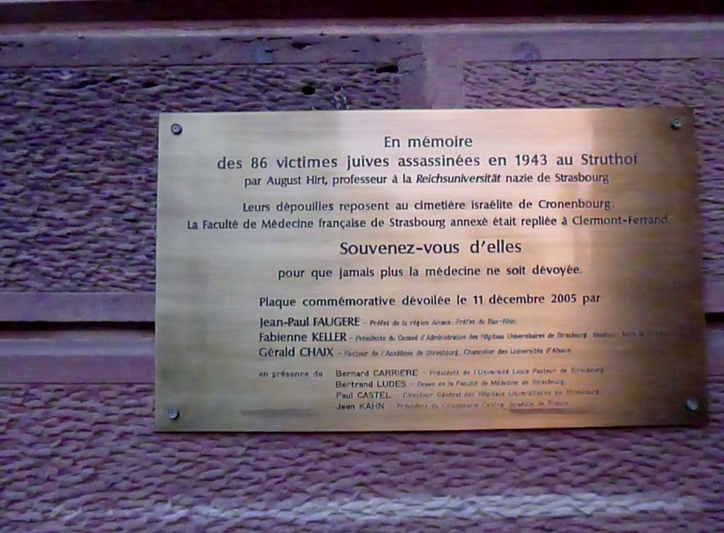 En mémoire des 86 victimes juives assassinées en 1943 au Struthof par le professeur Hirt
