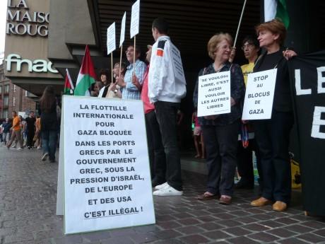 Rassemblement à Strasbourg après le blocus de la flottille pour Gaza et de Bienvenue en Palestine