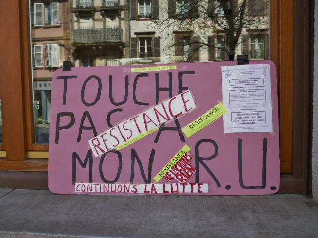 Non à la fermeture du Restaurant Universitaire Pasteur à Strasbourg
