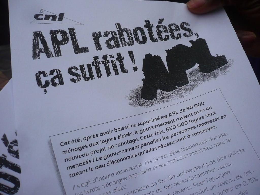 Pétition et mobilisation contre la disparition des Aides Personnalisées au Logement (APL)