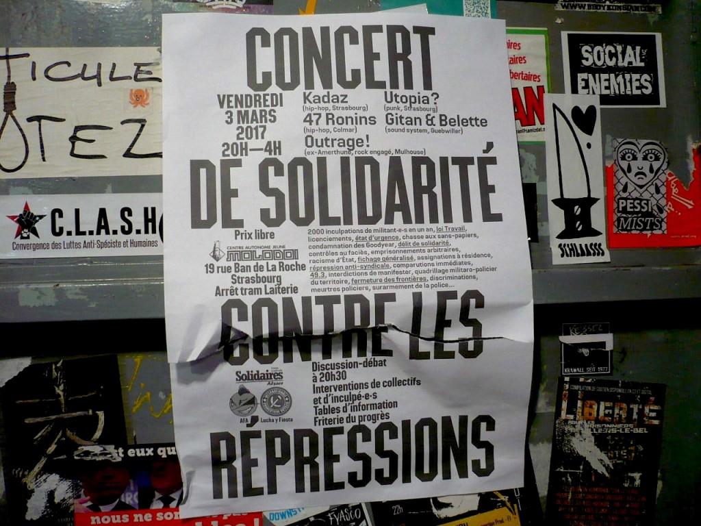 Strasbourg : Soirée et concert de solidarité contre les répressions
