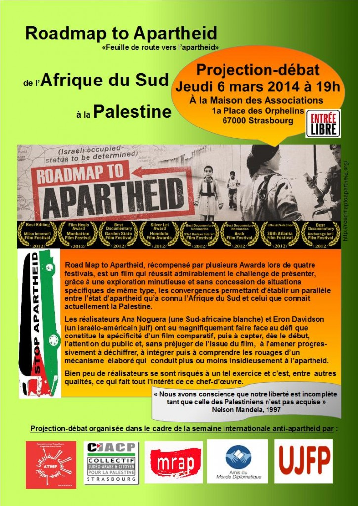 Roadmap to Apartheid : Projection-débat le jeudi 6 mars 2014 à 19h