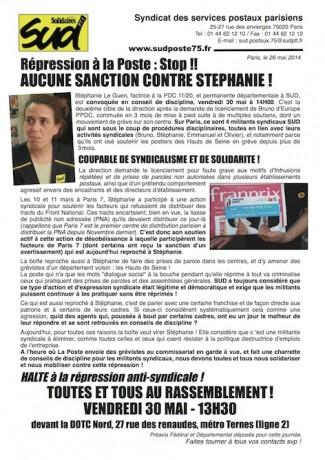 Répression à la Poste : Stop !!