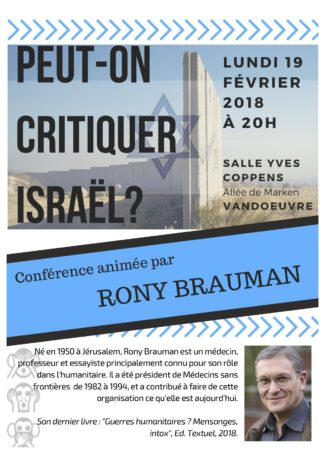 Peut-on critiquer Israël? par Rony Braumann