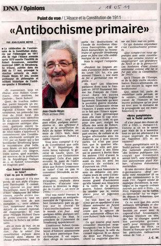 Constitution de 1911 en Alsace: Robert Grossmann ou de l'antibochisme primaire