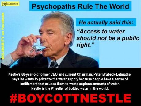 Contre la privatisation de l'accès à l'eau, Boycott Nestlé !