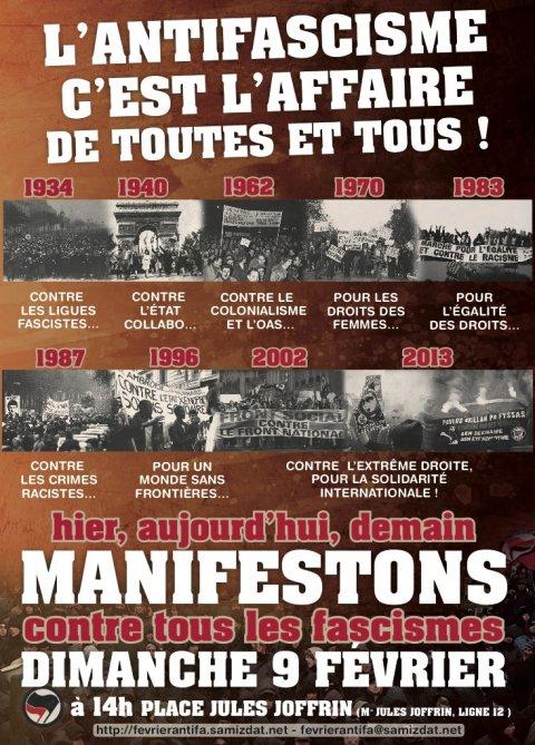 Manifestation antifa à Paris le 9 février : l'antifascisme, c'est l'affaire de toutes et tous !