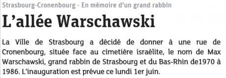 Une allée Max Warschawski inaugurée demain à Strasbourg-Cronenbourg