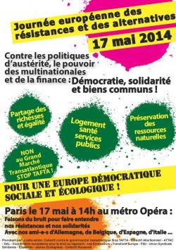 Journée européenne des résistances et des alternatives, samedi 17 mai 2014