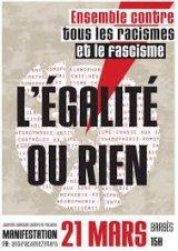"""Le 21 mars : """" Ensemble contre tous les racismes et le fascisme """""""