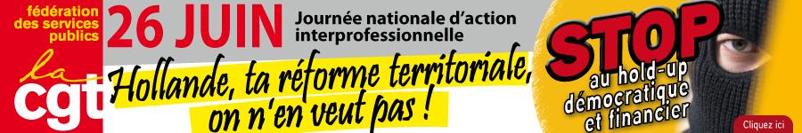 Fédération CGT des Services publics :  Préavis de grève pour les 23, 24, 25 et 27 juin 2014