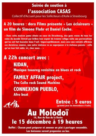 Soirée de soutien à Casas et Simone Fluhr le 15 décembre au Molodoï à Strasbourg