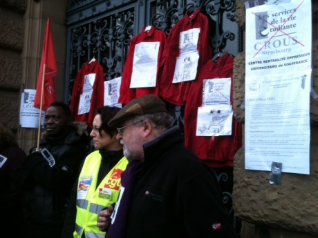 Grève et rassemblement au CROUS à Strasbourg