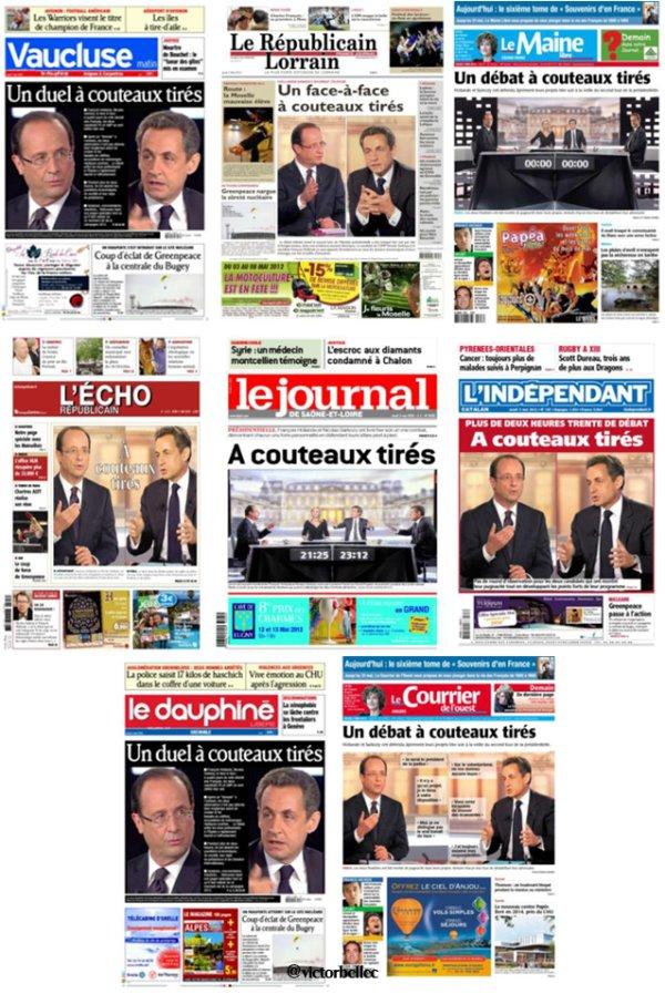 3 mai 2012 : un peu de statistiques sur les Unes de la Presse Quotidienne Régionale
