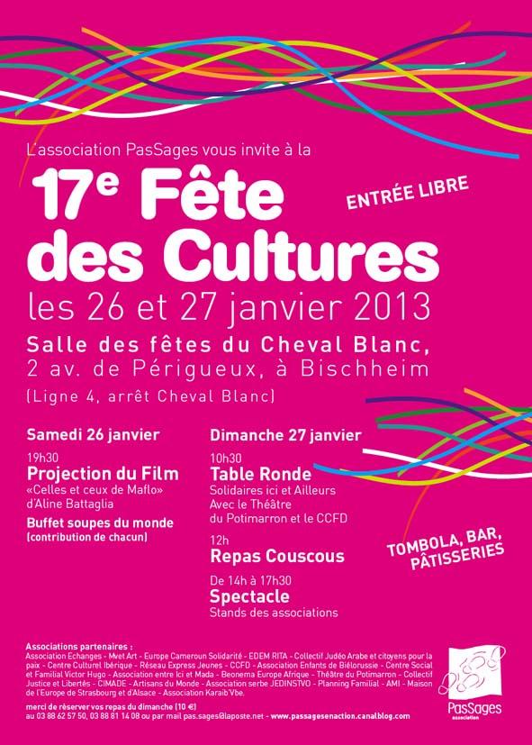 PasSages vous invite à la Fête des cultures les 26 et 27 janvier 1013 à Bischheim
