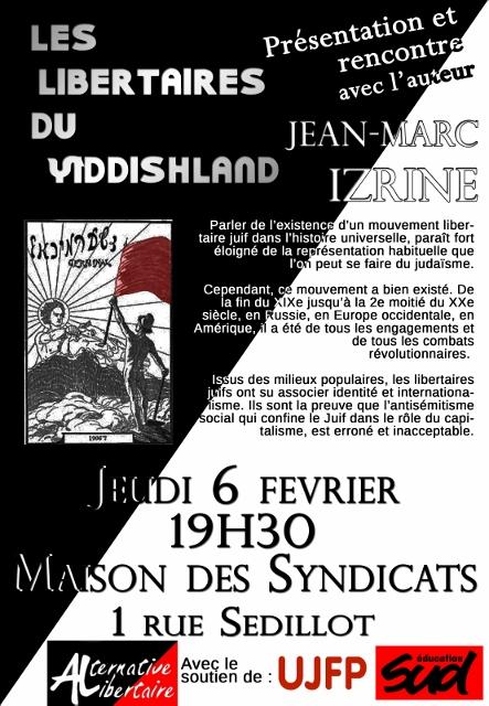 Les libertaires du Yiddishland : présentation et rencontre avec Jean-Marc Izrine