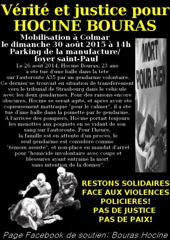 Marche blanche pour Hocine Bouras à Colmar le 30 août 2015