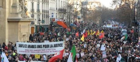 Manifestation à Paris pour Gaza: un très grand succès et une petite provocation de la LDJ