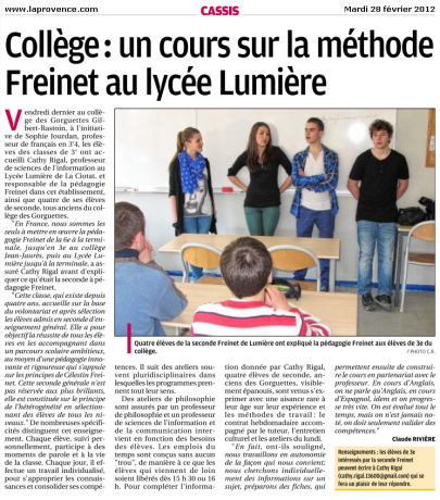 Des classes Freinet en lycée, c'est possible !