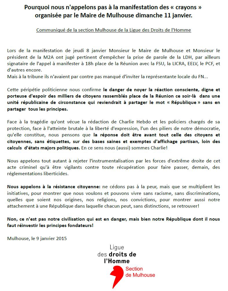 La LDH Mulhouse ne manifestera pas dimanche avec le FN et l'UMP