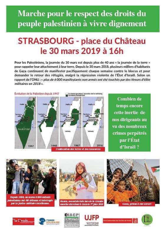 Gaza-Strasbourg: marche pour la journée de la terre en Palestine
