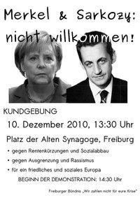 Ensemble (mitenander), contre (gegen) Angela Sarkozy et (und) Nicolas Merkel: nicht willkommen!