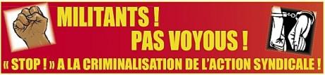 Pétition 8 responsables syndicaux mis en examen : NON à la criminalisation de l'action syndicale !